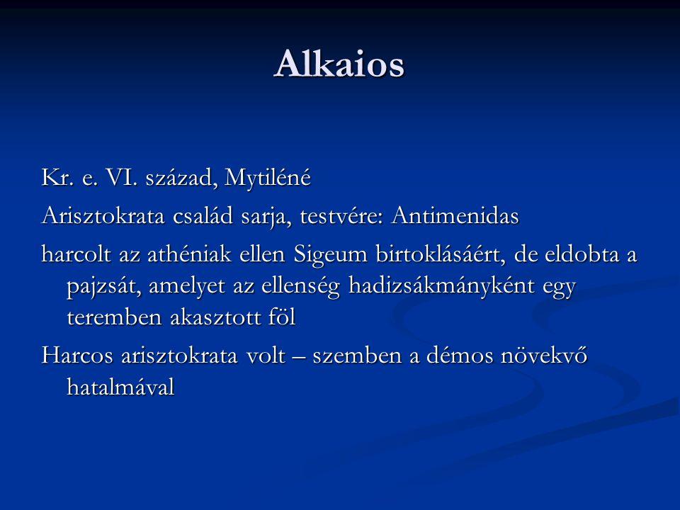 Alkaios Kr. e. VI. század, Mytiléné