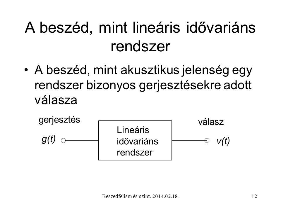 A beszéd, mint lineáris idővariáns rendszer