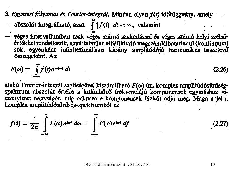 Beszedfelism és szint. 2014.02.18.