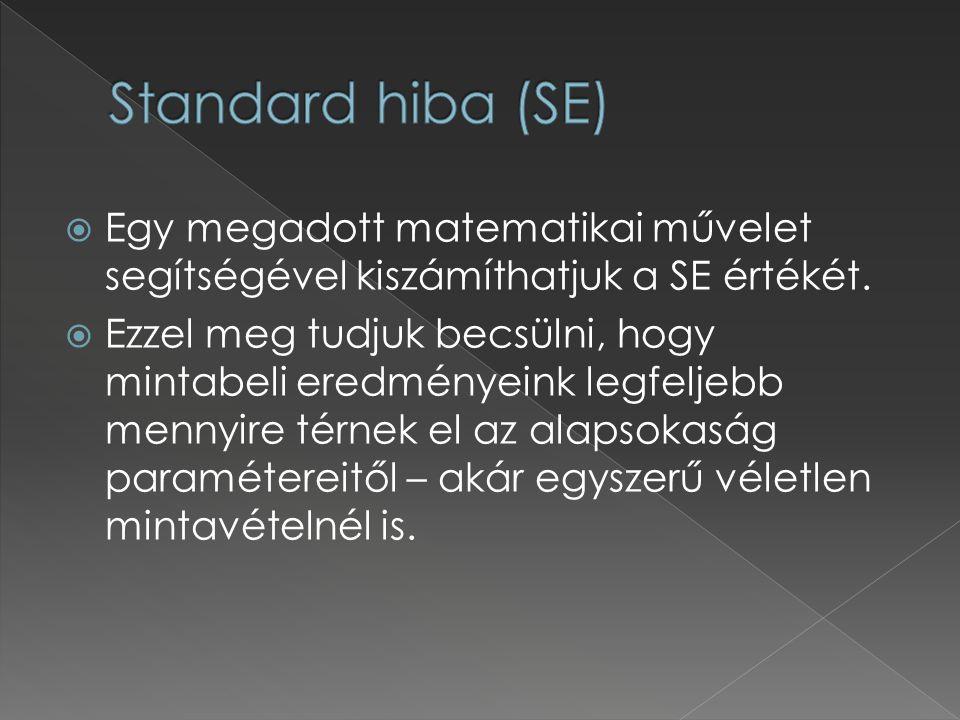 Standard hiba (SE) Egy megadott matematikai művelet segítségével kiszámíthatjuk a SE értékét.