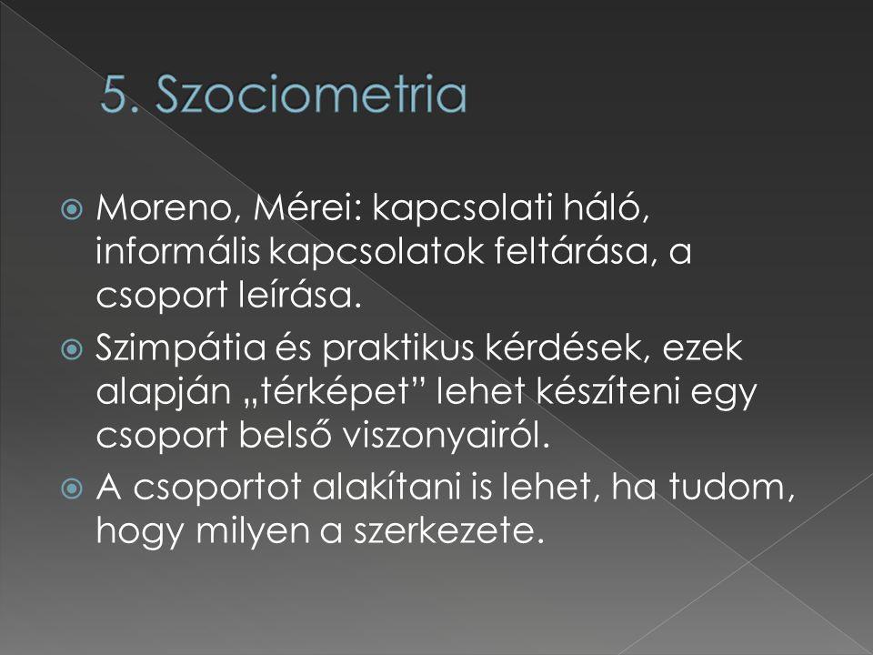 5. Szociometria Moreno, Mérei: kapcsolati háló, informális kapcsolatok feltárása, a csoport leírása.