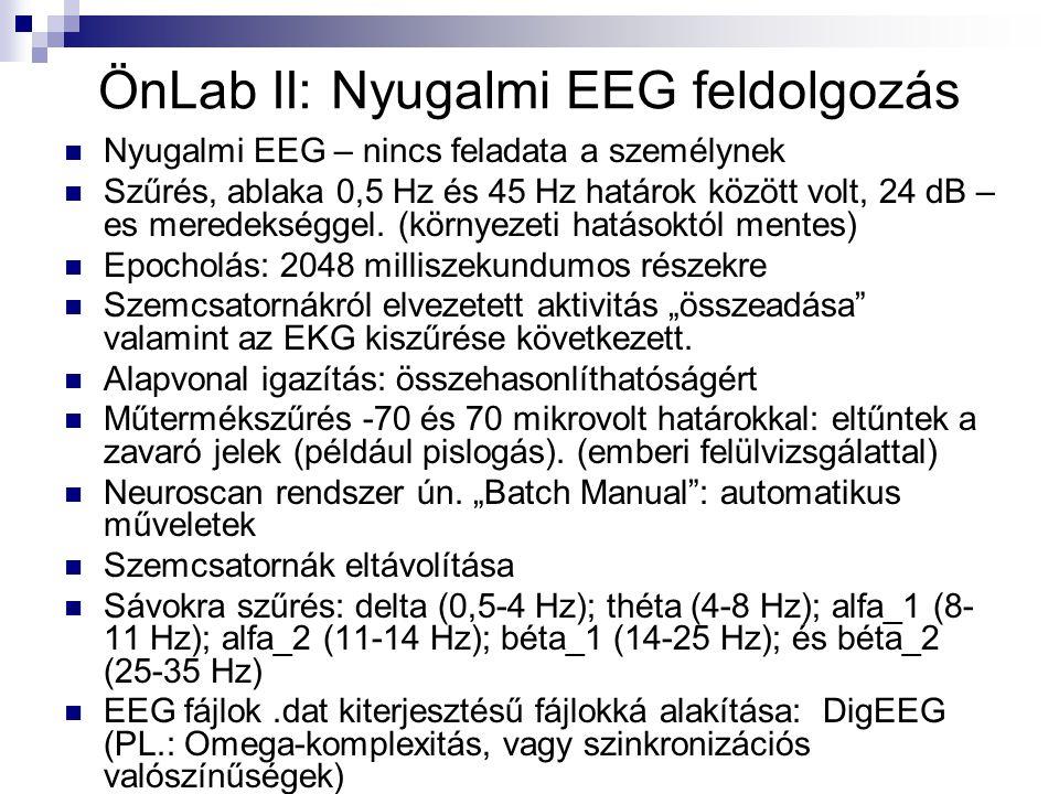 ÖnLab II: Nyugalmi EEG feldolgozás