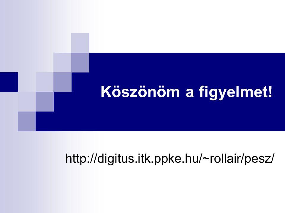 Köszönöm a figyelmet! http://digitus.itk.ppke.hu/~rollair/pesz/