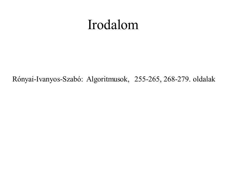 Rónyai-Ivanyos-Szabó: Algoritmusok, 255-265, 268-279. oldalak