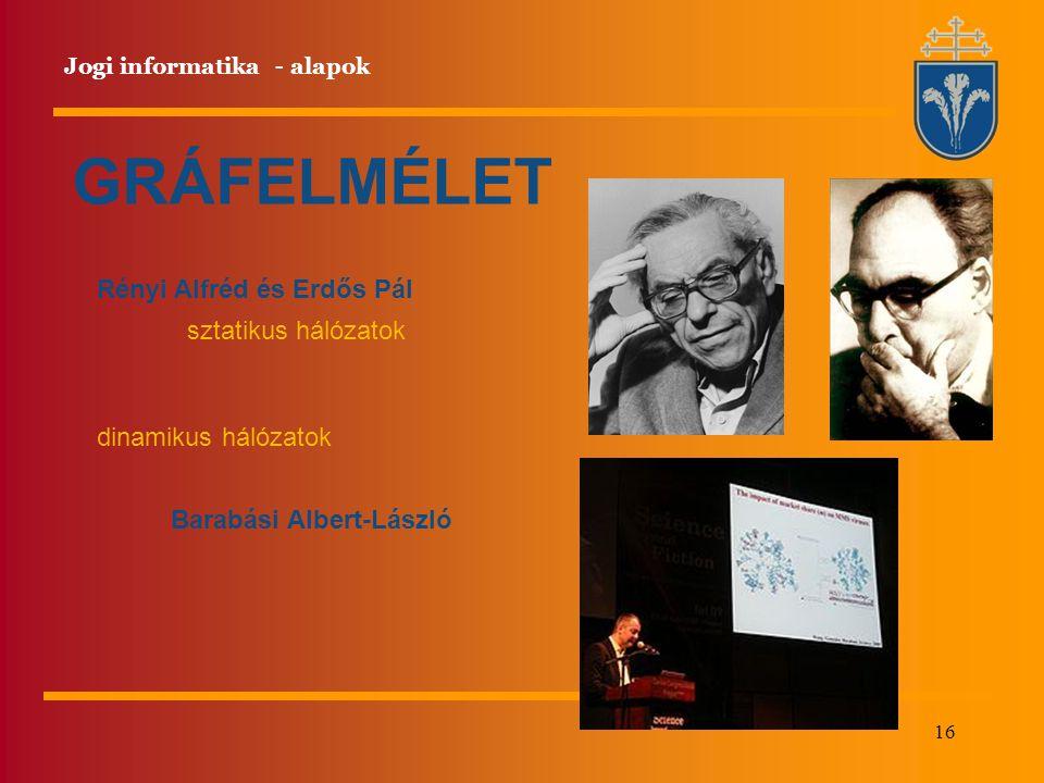 GRÁFELMÉLET Rényi Alfréd és Erdős Pál sztatikus hálózatok