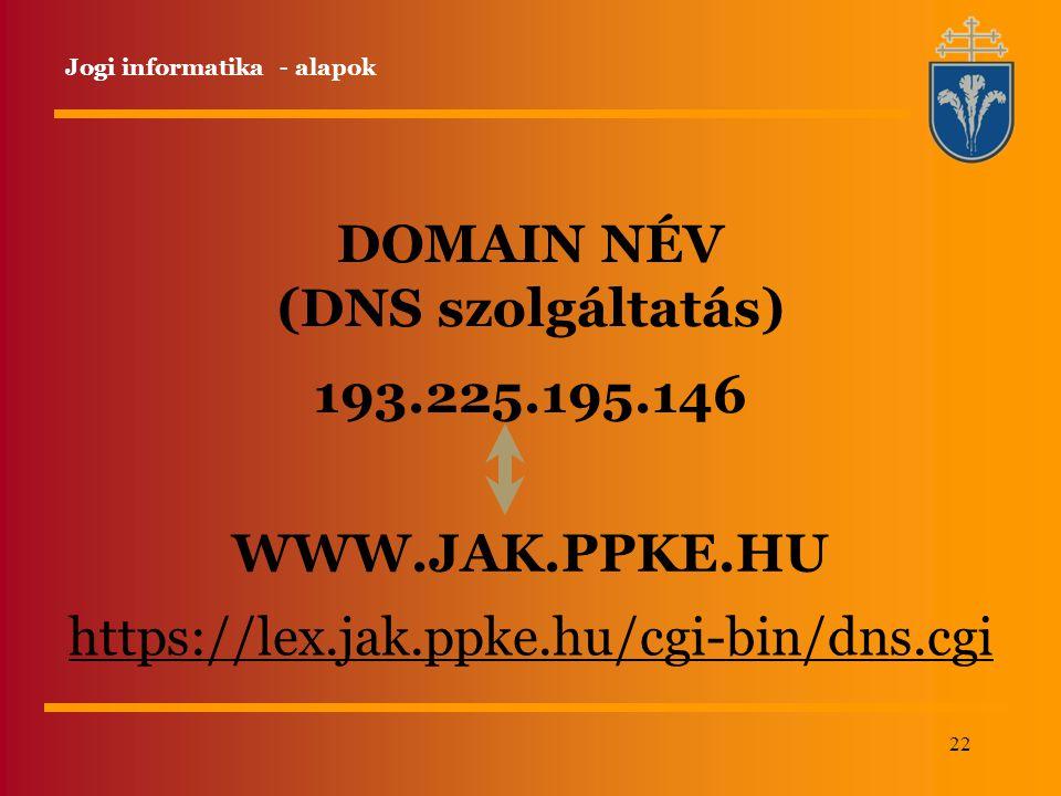 DOMAIN NÉV (DNS szolgáltatás) 193.225.195.146 WWW.JAK.PPKE.HU