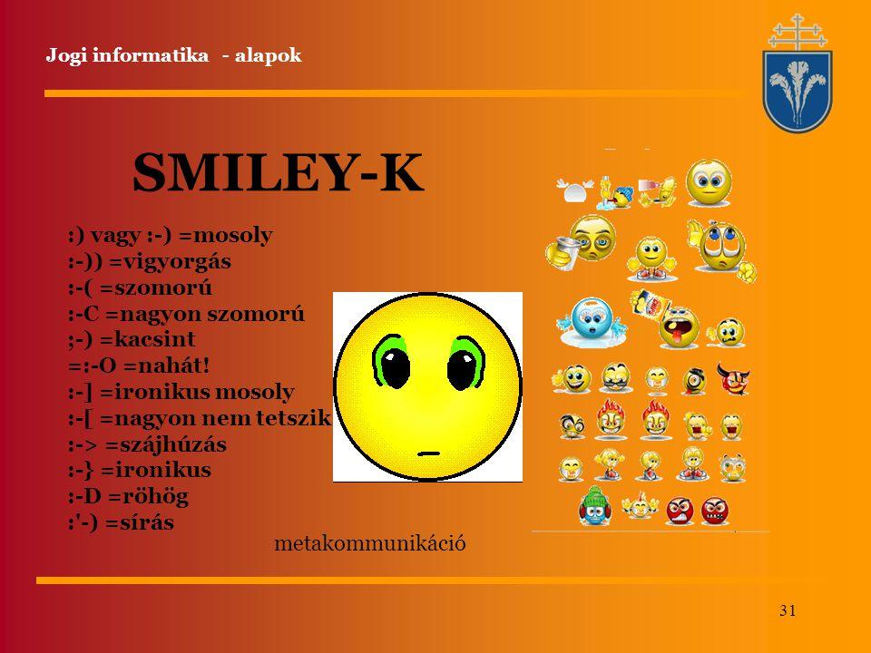 SMILEY-K :) vagy :-) =mosoly :-)) =vigyorgás :-( =szomorú