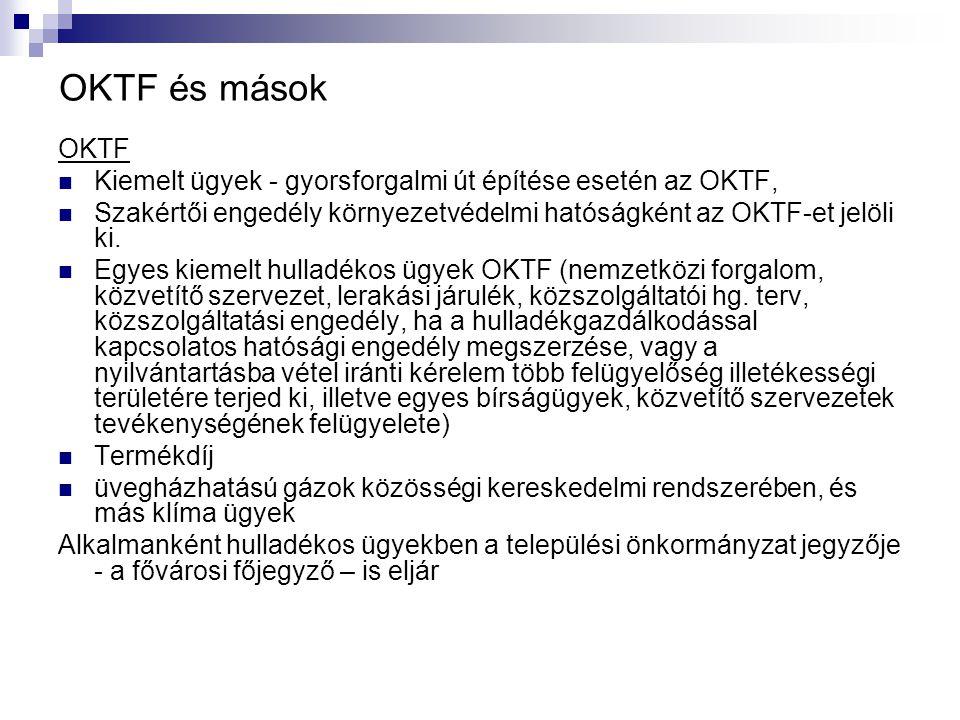 OKTF és mások OKTF. Kiemelt ügyek - gyorsforgalmi út építése esetén az OKTF, Szakértői engedély környezetvédelmi hatóságként az OKTF-et jelöli ki.