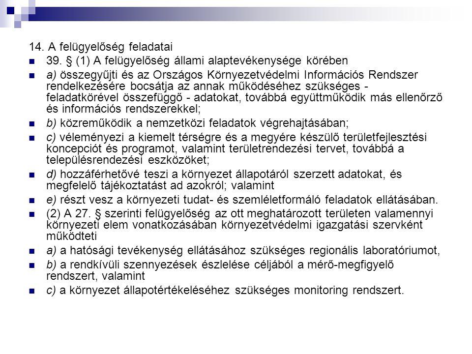 14. A felügyelőség feladatai
