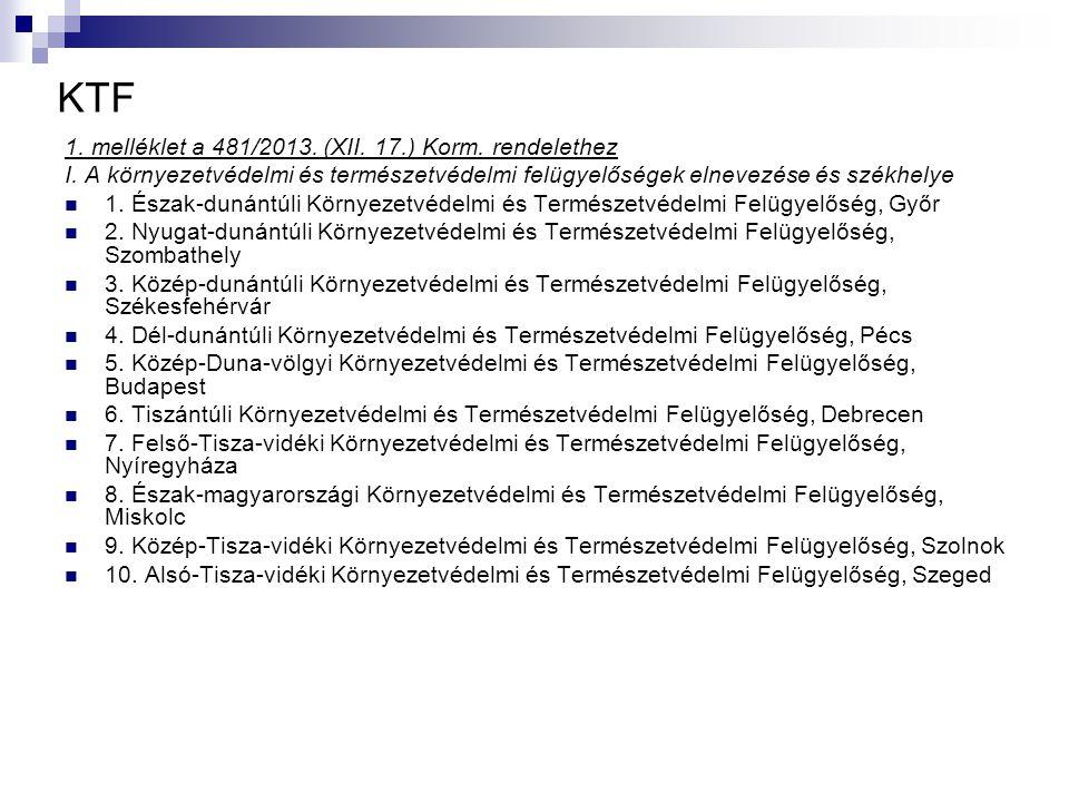 KTF 1. melléklet a 481/2013. (XII. 17.) Korm. rendelethez