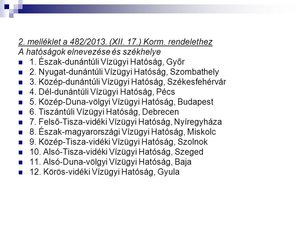 2. melléklet a 482/2013. (XII. 17.) Korm. rendelethez
