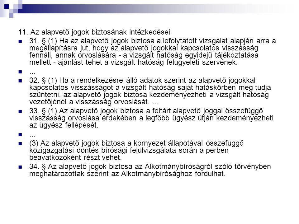 11. Az alapvető jogok biztosának intézkedései