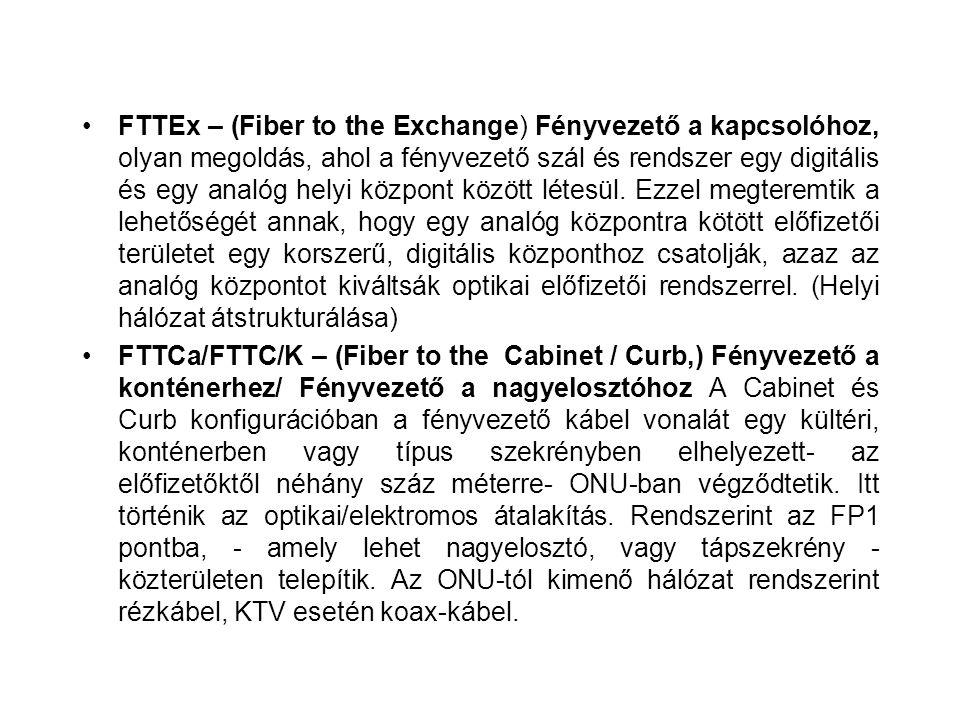 FTTEx – (Fiber to the Exchange) Fényvezető a kapcsolóhoz, olyan megoldás, ahol a fényvezető szál és rendszer egy digitális és egy analóg helyi központ között létesül. Ezzel megteremtik a lehetőségét annak, hogy egy analóg központra kötött előfizetői területet egy korszerű, digitális központhoz csatolják, azaz az analóg központot kiváltsák optikai előfizetői rendszerrel. (Helyi hálózat átstrukturálása)