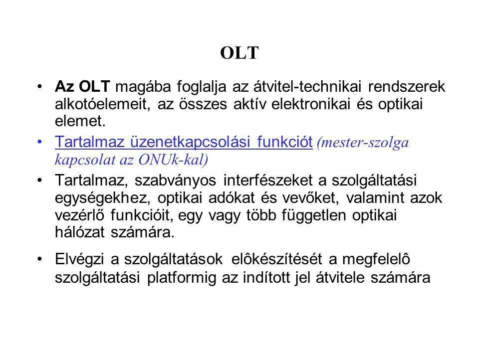 OLT Az OLT magába foglalja az átvitel-technikai rendszerek alkotóelemeit, az összes aktív elektronikai és optikai elemet.