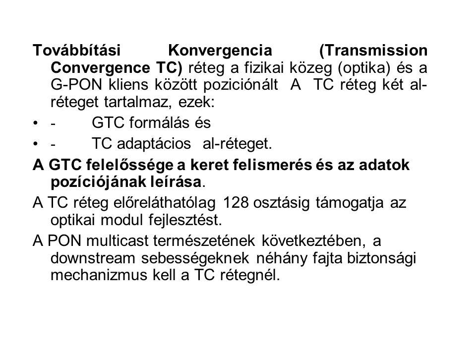 Továbbítási Konvergencia (Transmission Convergence TC) réteg a fizikai közeg (optika) és a G-PON kliens között poziciónált A TC réteg két al-réteget tartalmaz, ezek: