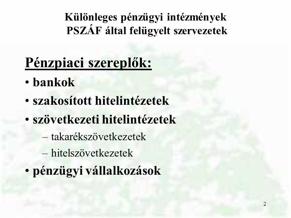 Különleges pénzügyi intézmények PSZÁF által felügyelt szervezetek