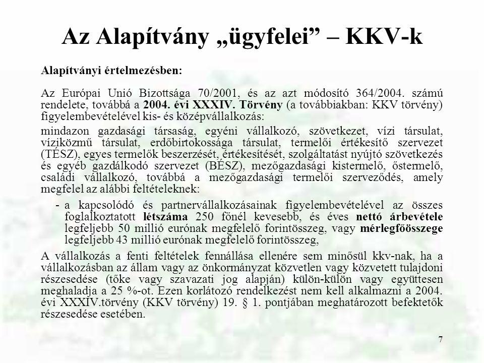 """Az Alapítvány """"ügyfelei – KKV-k"""