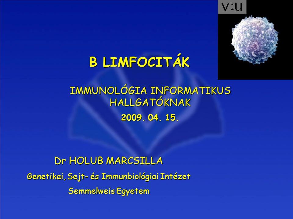 B LIMFOCITÁK IMMUNOLÓGIA INFORMATIKUS HALLGATÓKNAK Dr HOLUB MARCSILLA