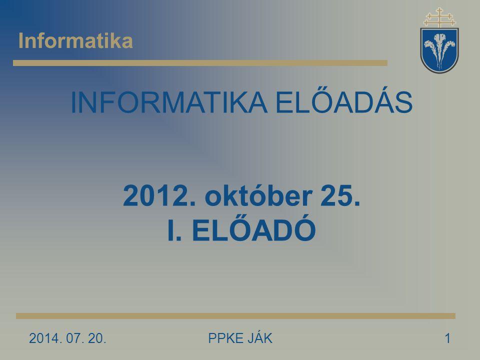 INFORMATIKA ELŐADÁS 2012. október 25. I. ELŐADÓ Informatika