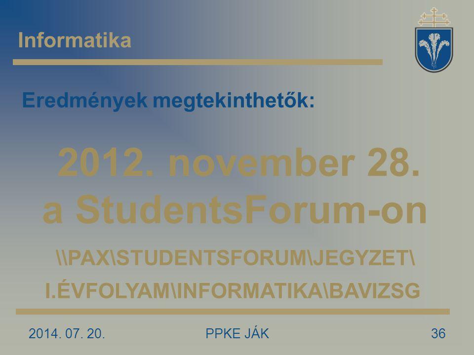 2012. november 28. a StudentsForum-on