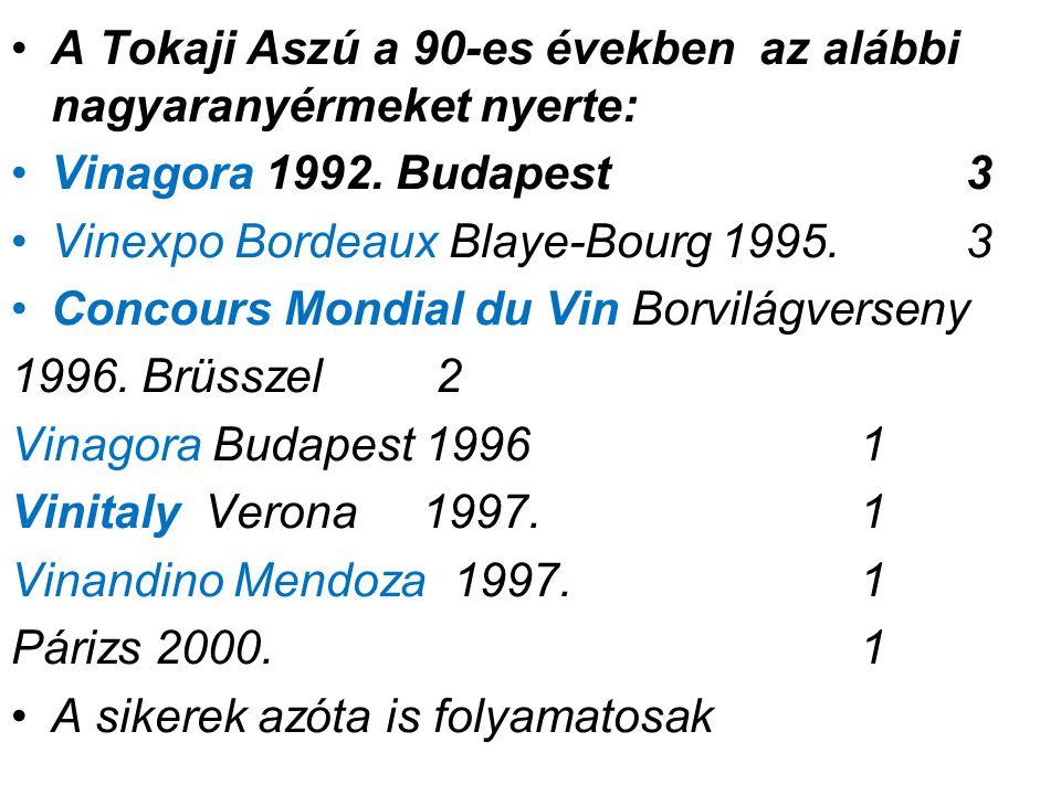 A Tokaji Aszú a 90-es években az alábbi nagyaranyérmeket nyerte: