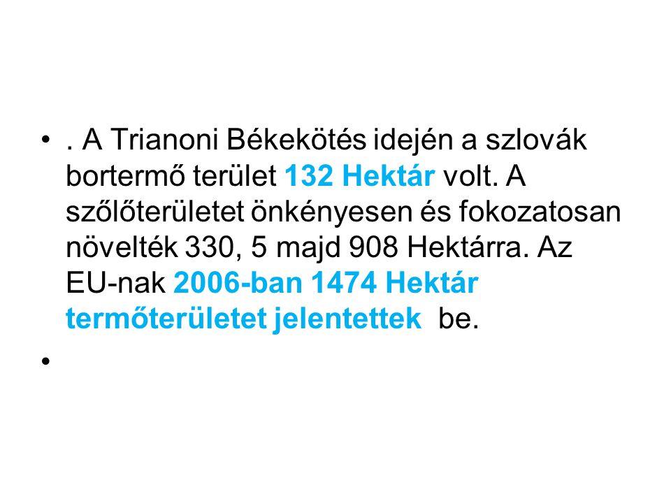 A Trianoni Békekötés idején a szlovák bortermő terület 132 Hektár volt
