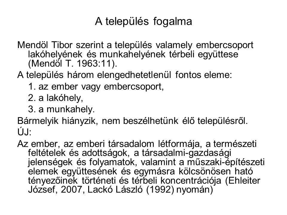 A település fogalma Mendöl Tibor szerint a település valamely embercsoport lakóhelyének és munkahelyének térbeli együttese (Mendöl T. 1963:11).