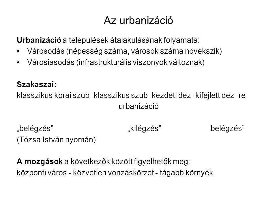 Az urbanizáció Urbanizáció a települések átalakulásának folyamata: