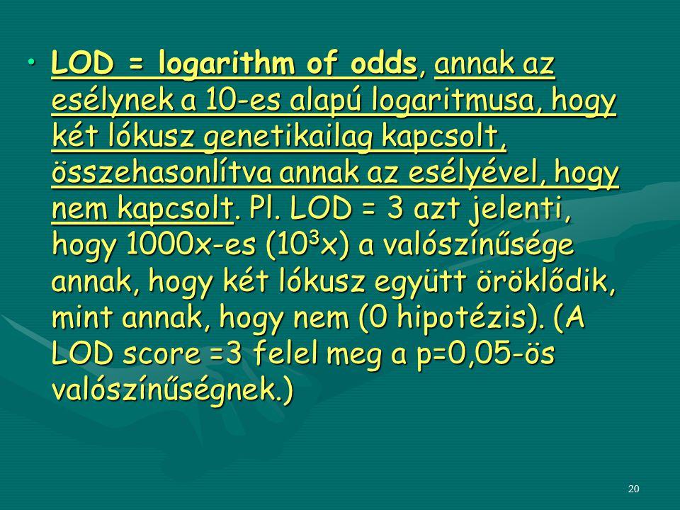 LOD = logarithm of odds, annak az esélynek a 10-es alapú logaritmusa, hogy két lókusz genetikailag kapcsolt, összehasonlítva annak az esélyével, hogy nem kapcsolt.