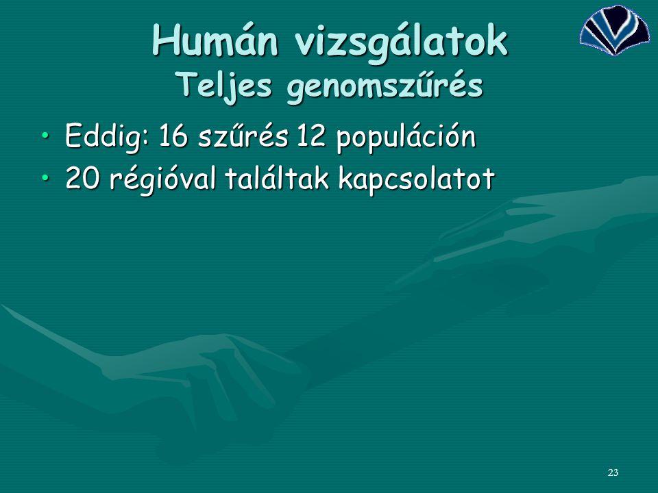 Humán vizsgálatok Teljes genomszűrés