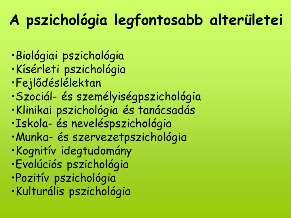 A pszichológia legfontosabb alterületei