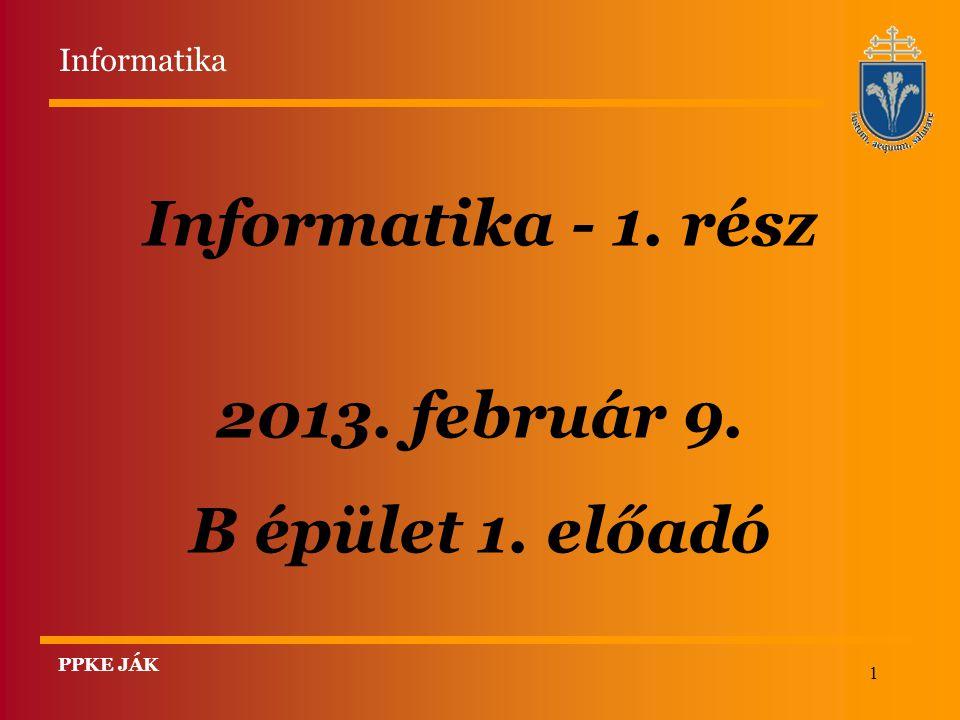 Informatika - 1. rész 2013. február 9. B épület 1. előadó