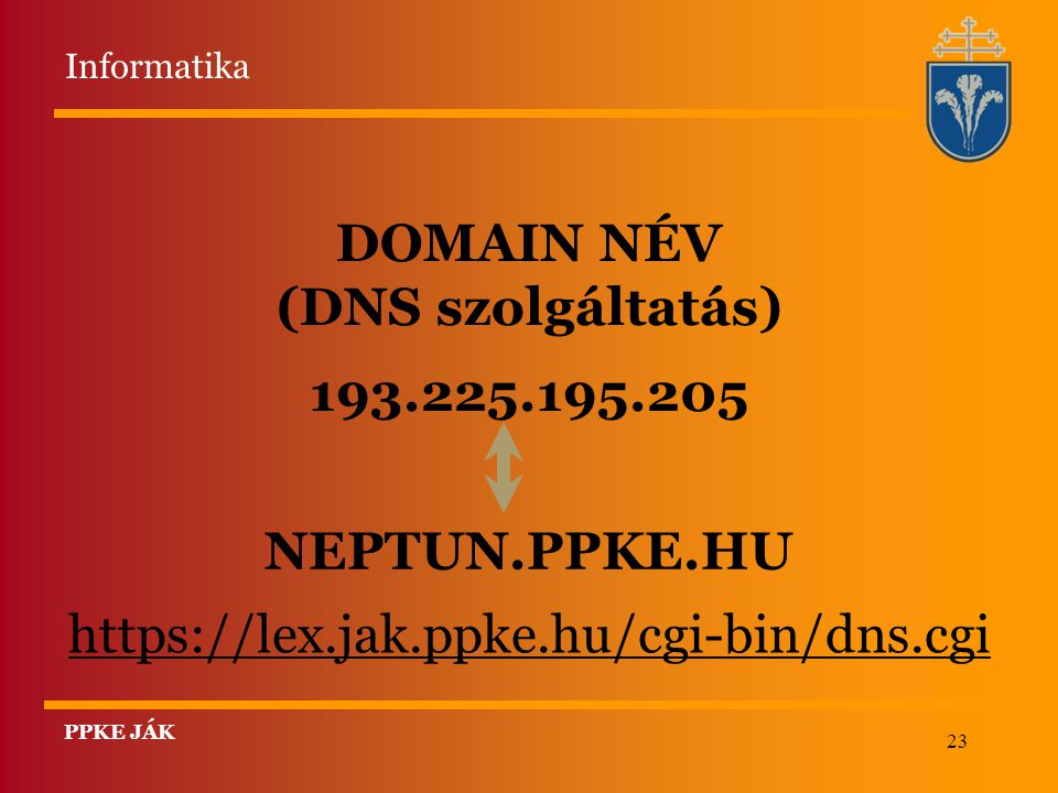 DOMAIN NÉV (DNS szolgáltatás) 193.225.195.205 NEPTUN.PPKE.HU
