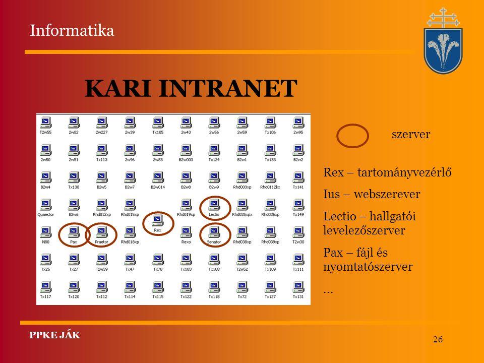 KARI INTRANET Informatika szerver Rex – tartományvezérlő
