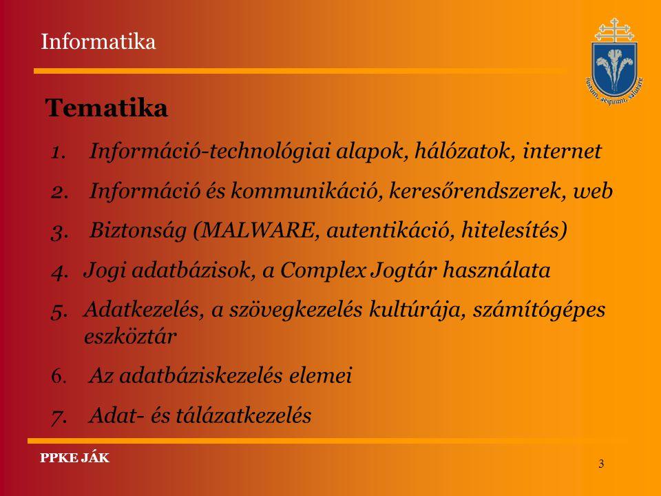 Informatika Tematika. Információ-technológiai alapok, hálózatok, internet. Információ és kommunikáció, keresőrendszerek, web.