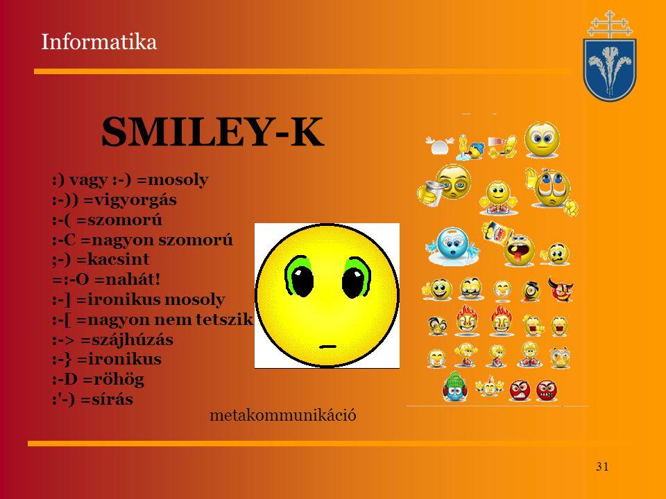 SMILEY-K Informatika :) vagy :-) =mosoly :-)) =vigyorgás :-( =szomorú
