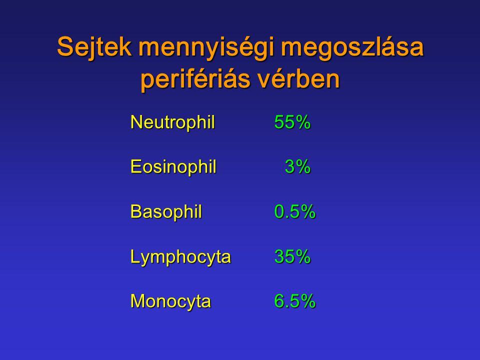 Sejtek mennyiségi megoszlása perifériás vérben
