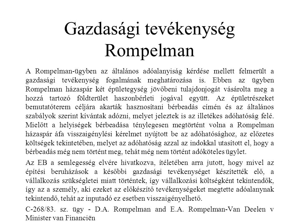 Gazdasági tevékenység Rompelman
