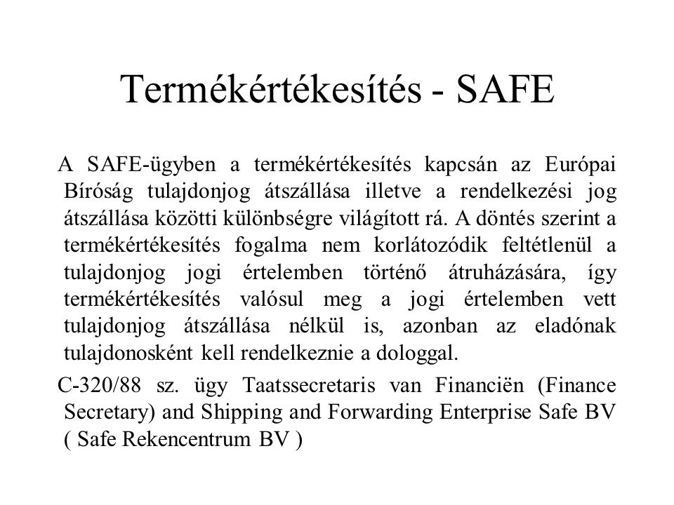 Termékértékesítés - SAFE