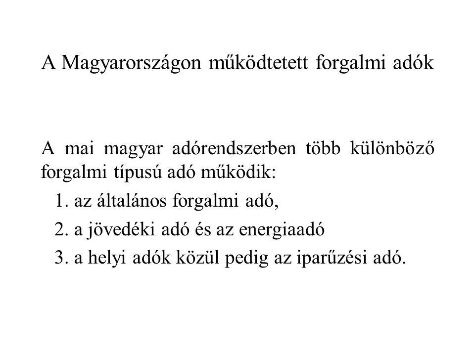 A Magyarországon működtetett forgalmi adók