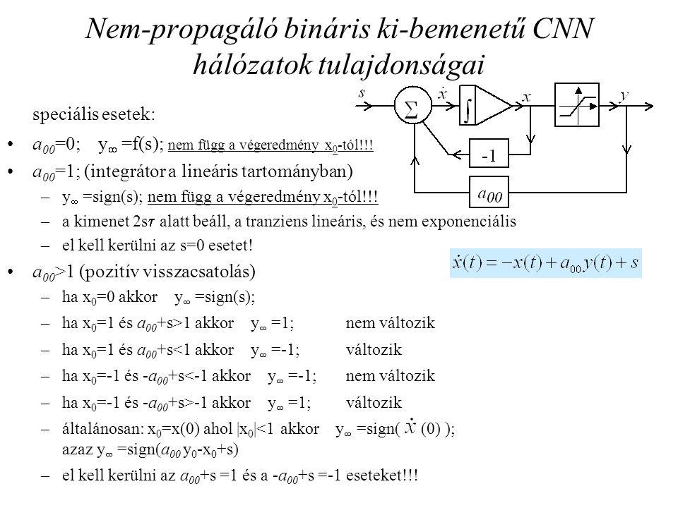 Nem-propagáló bináris ki-bemenetű CNN hálózatok tulajdonságai