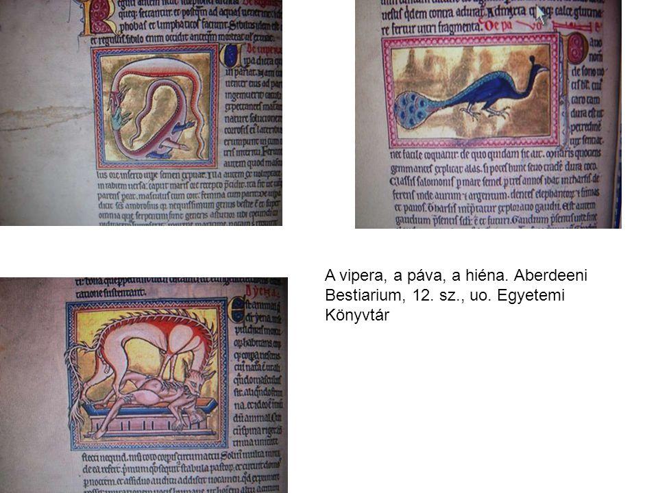 A vipera, a páva, a hiéna. Aberdeeni Bestiarium, 12. sz. , uo
