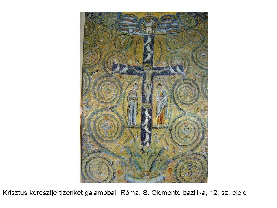Krisztus keresztje tizenkét galambbal. Róma, S. Clemente bazilika, 12