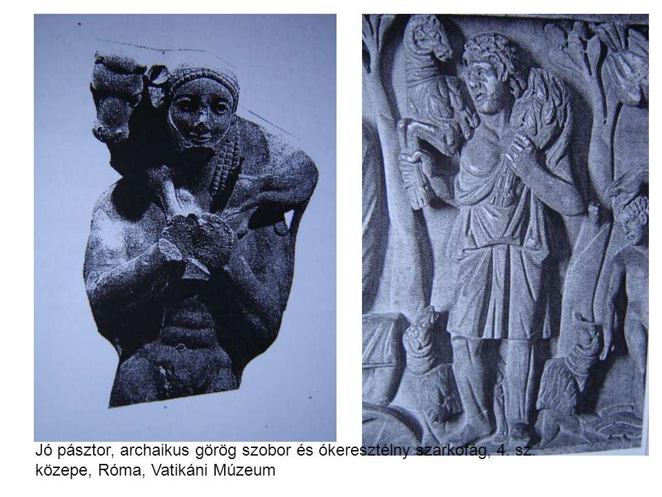 Jó pásztor, archaikus görög szobor és ókeresztélny szarkofág, 4. sz