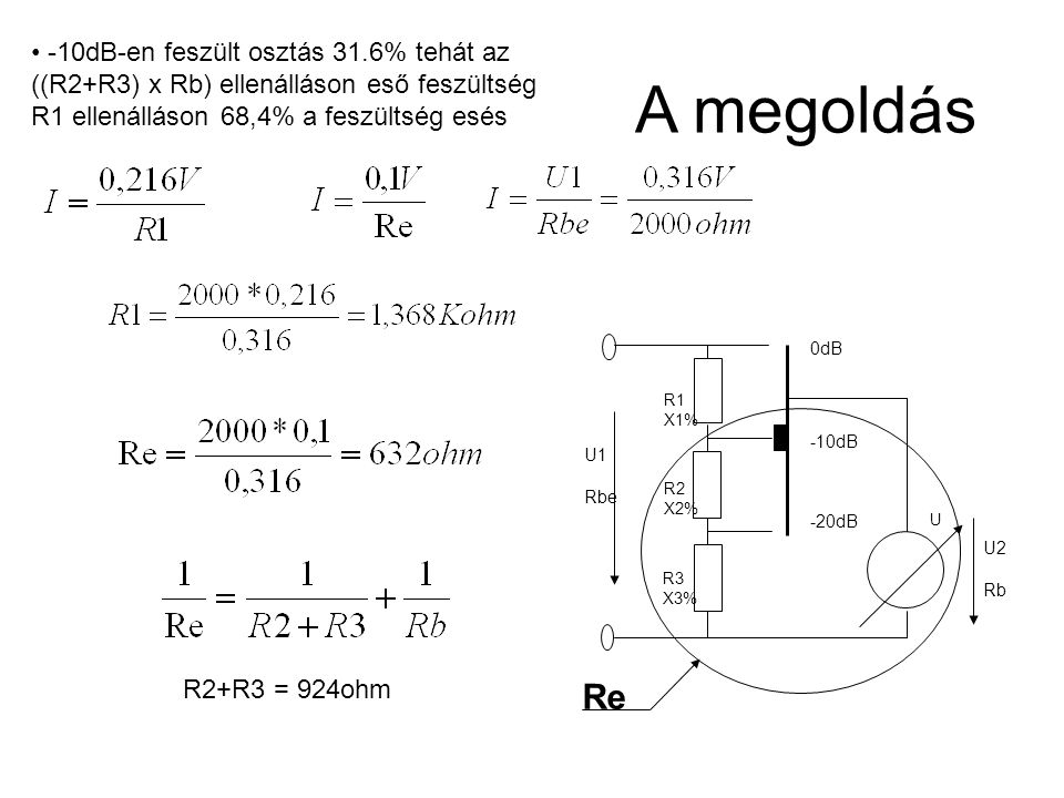 -10dB-en feszült osztás 31.6% tehát az ((R2+R3) x Rb) ellenálláson eső feszültség R1 ellenálláson 68,4% a feszültség esés