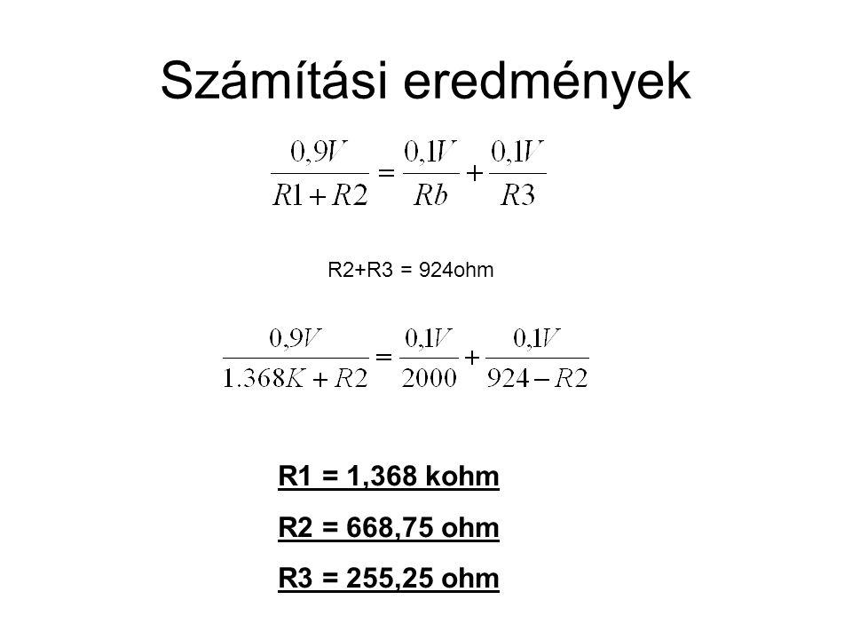 Számítási eredmények R1 = 1,368 kohm R2 = 668,75 ohm R3 = 255,25 ohm