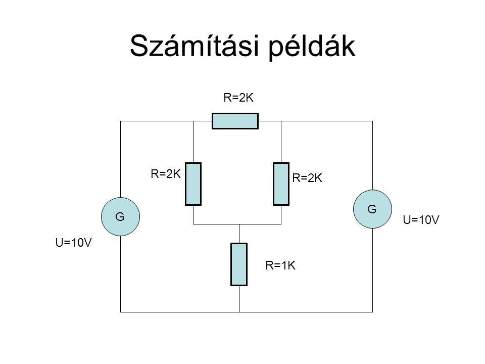 Számítási példák R=2K R=2K R=2K G G U=10V U=10V R=1K