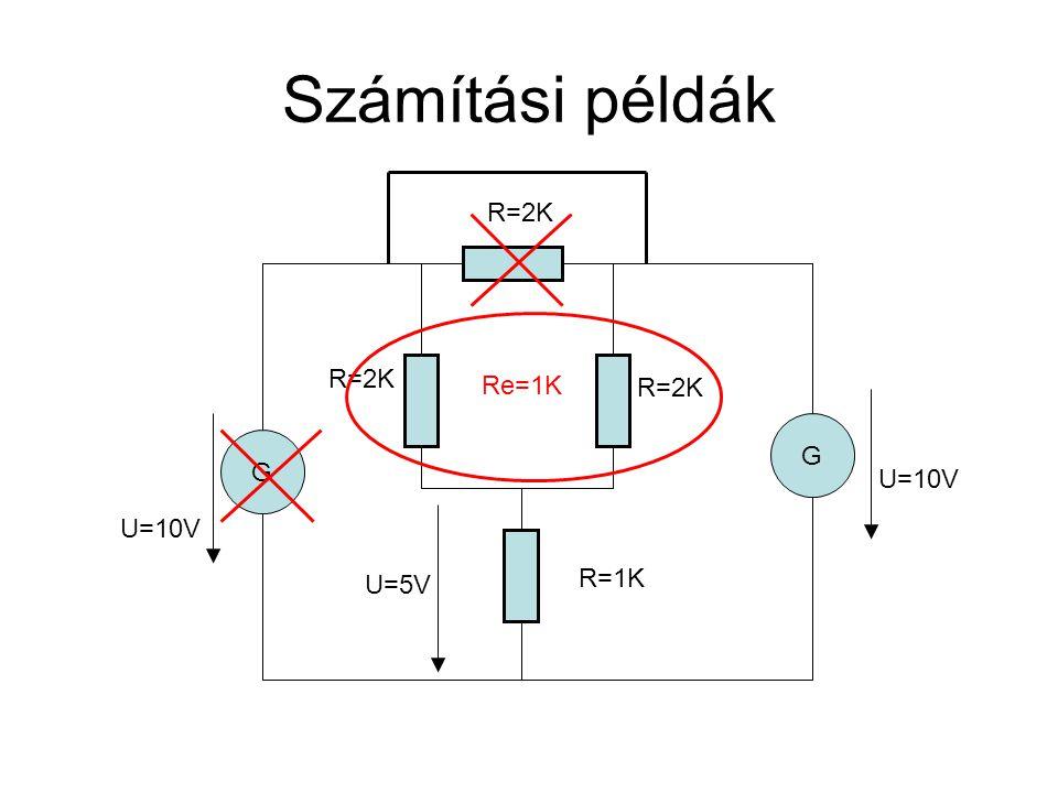 Számítási példák R=2K R=2K Re=1K R=2K G G U=10V U=10V U=5V R=1K