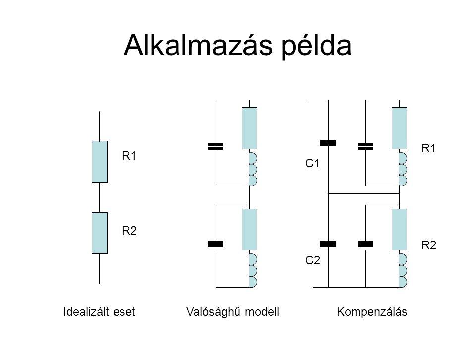 Alkalmazás példa R1 R1 C1 R2 R2 C2 Idealizált eset Valósághű modell