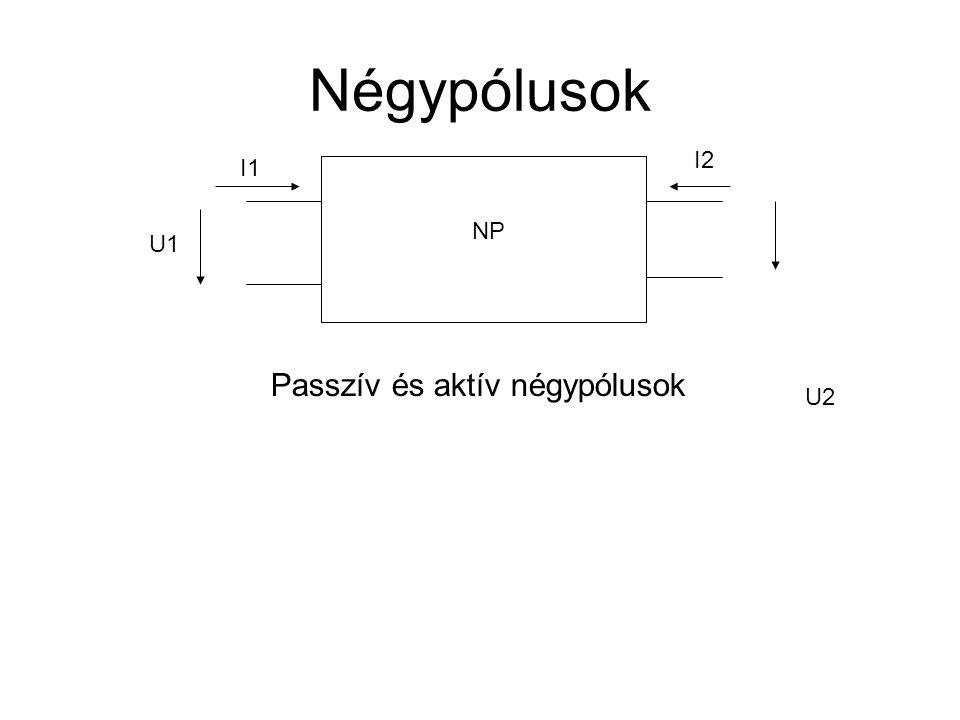 Négypólusok I2 I1 NP U1 Passzív és aktív négypólusok U2